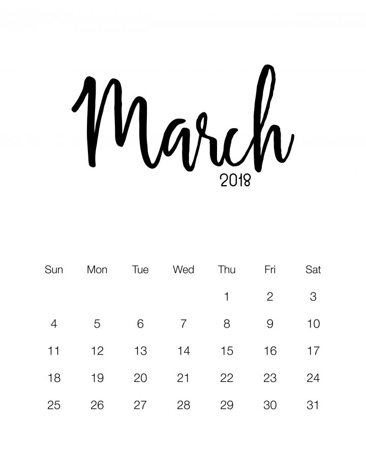 Free Printable 2018 Minimalistic Design Calendar | The ...