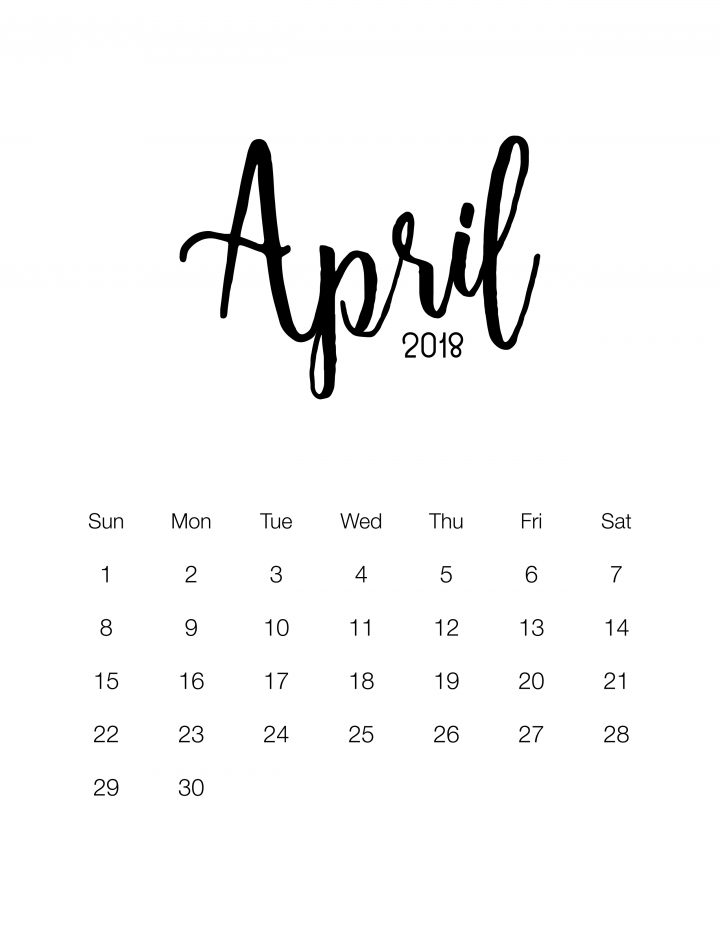 Free Minimalistic Design Calendar for 2018 - April