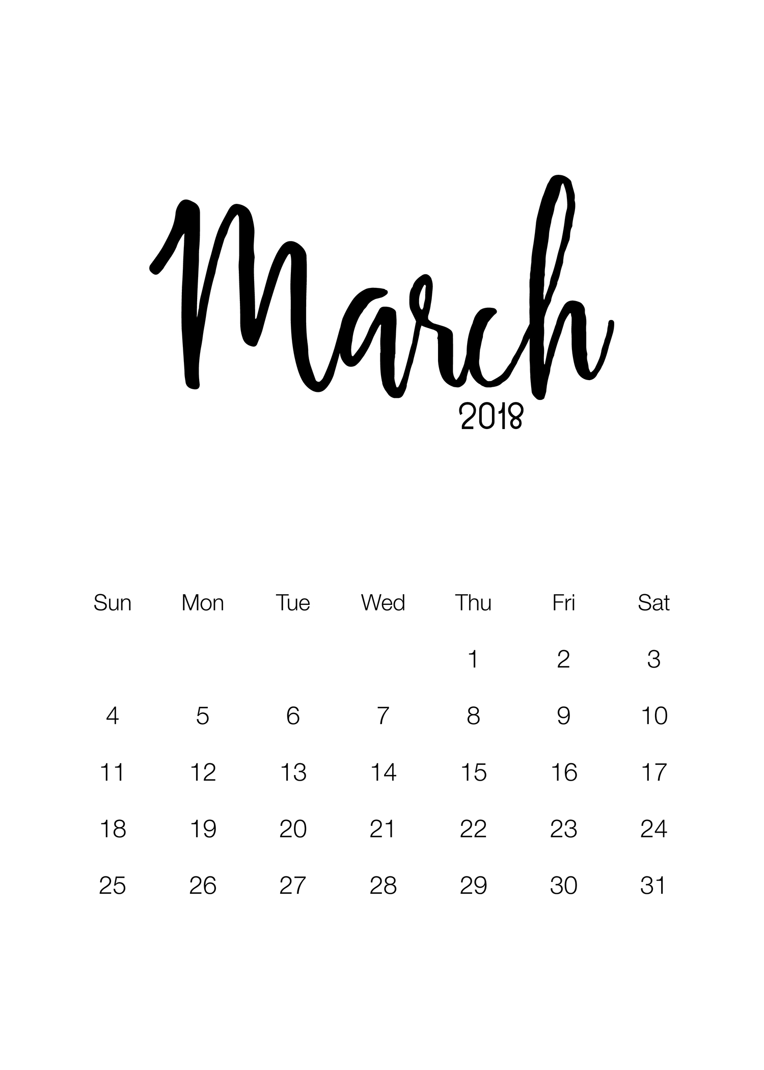 March 2018 Calendar I Can Type On