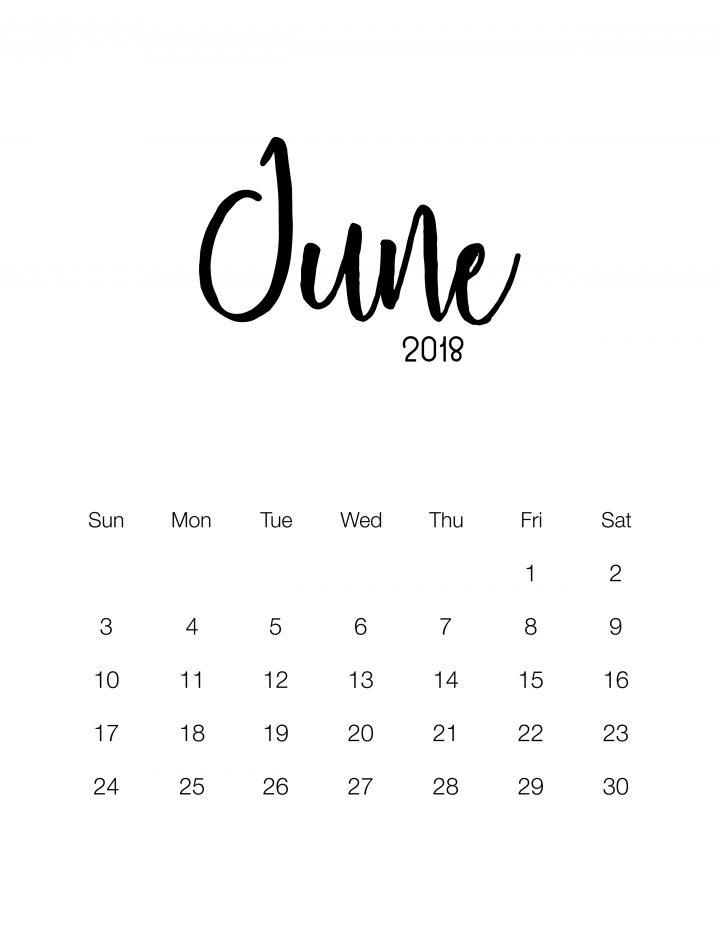 June 2018 - Minimalistic Design Calendar