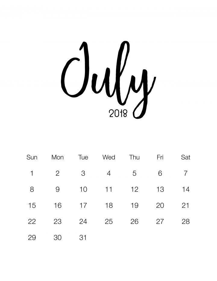 Free Printable 2018 Minimalistic Design Calendar - July