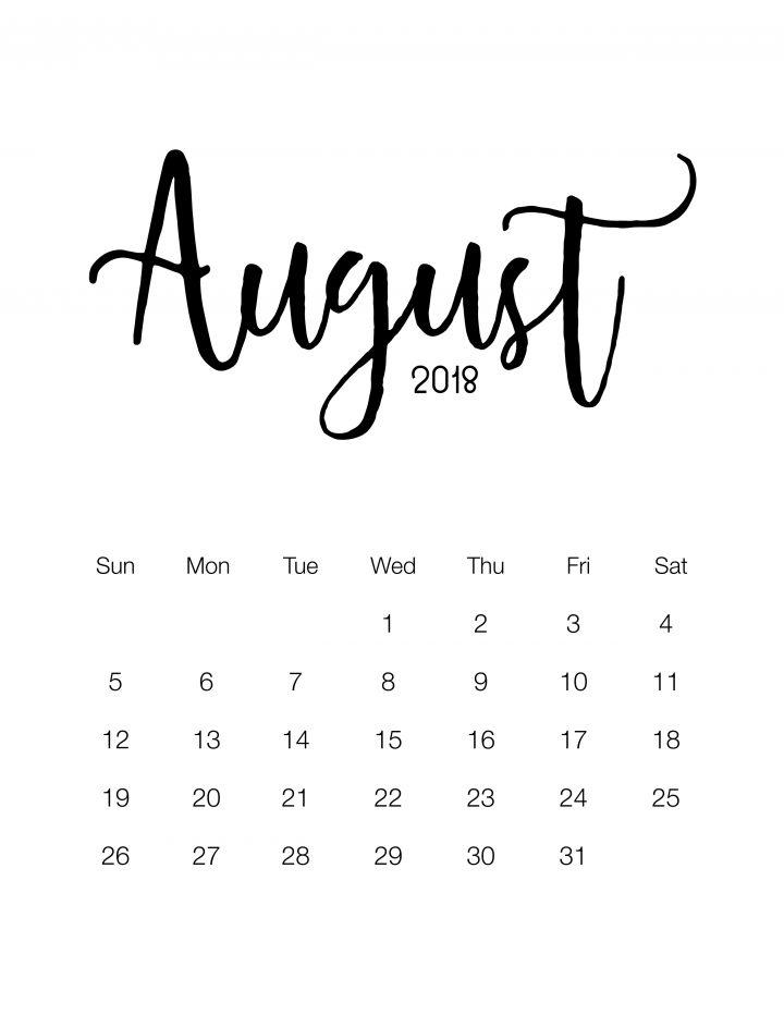 August 2018 - Minimalistic Design Calendar