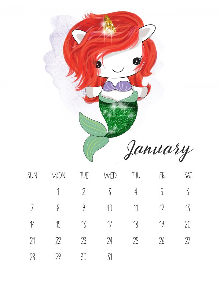 Ariel the Little Unicorn Mermaid graces the pages of January in this printable calendar