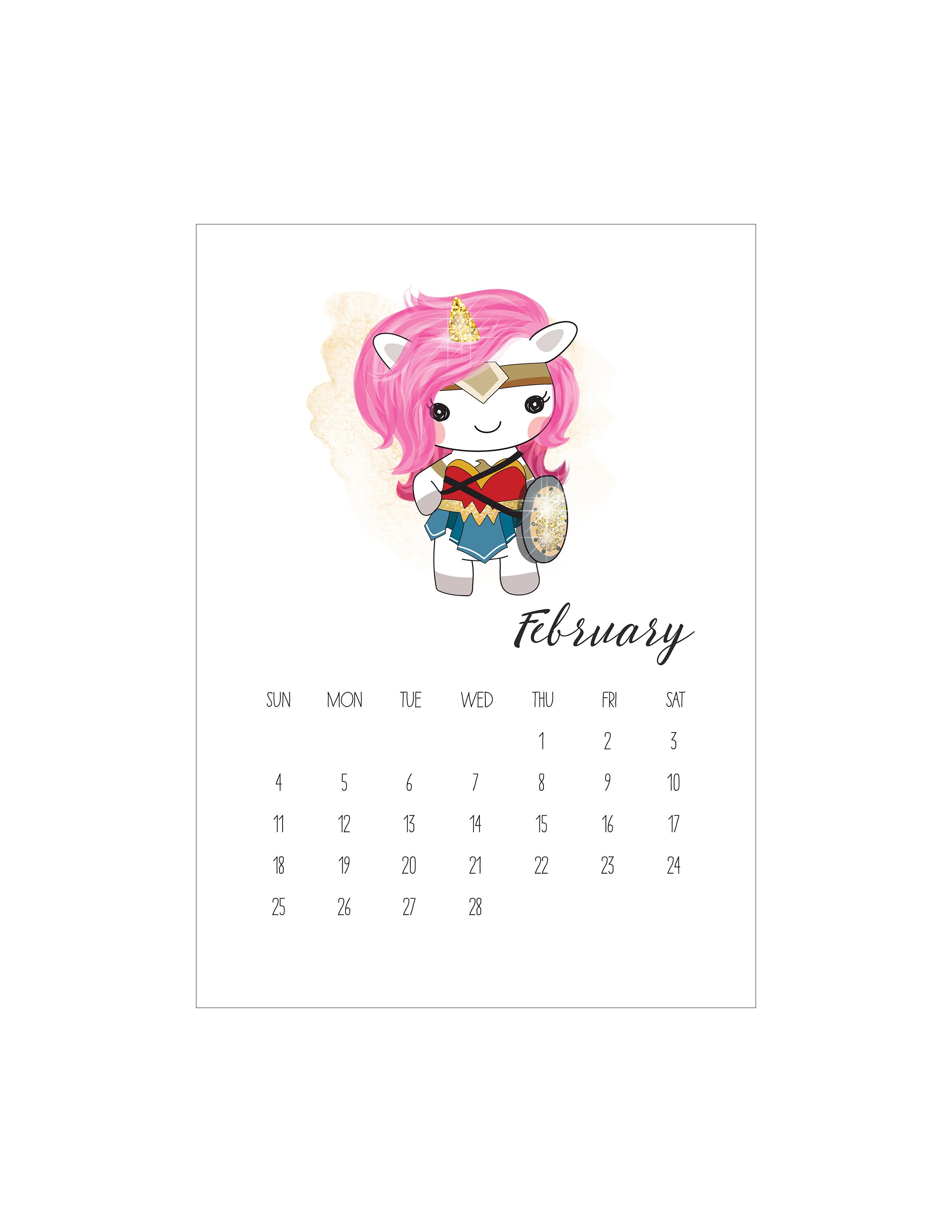 free printable pop culture unicorn calendar