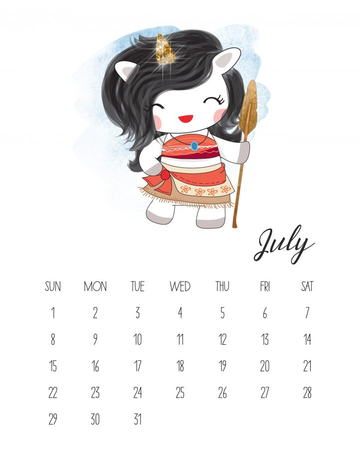 Unicorn Moana is ready to protect her island in July of our free printable calendar