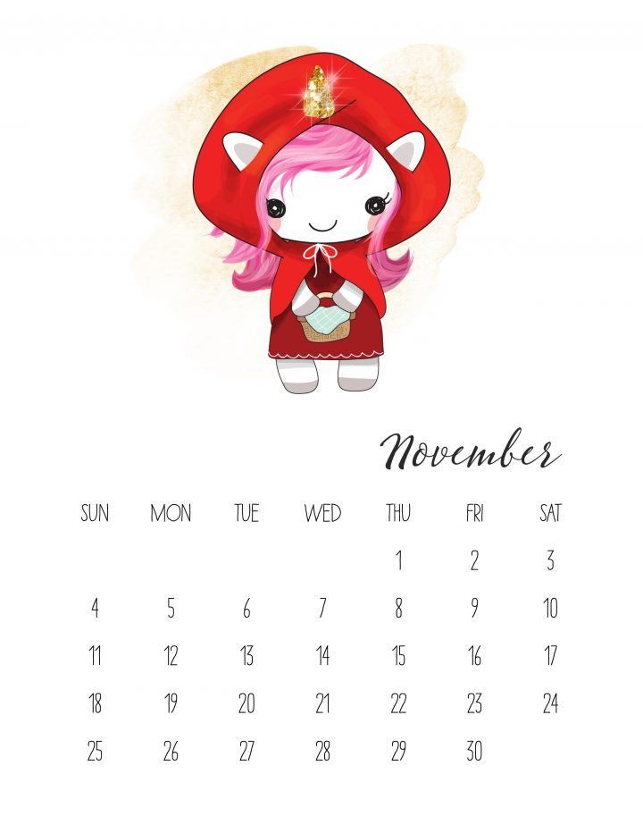 Little Red Unicorn Ridinghood is on the way to grandmas in November