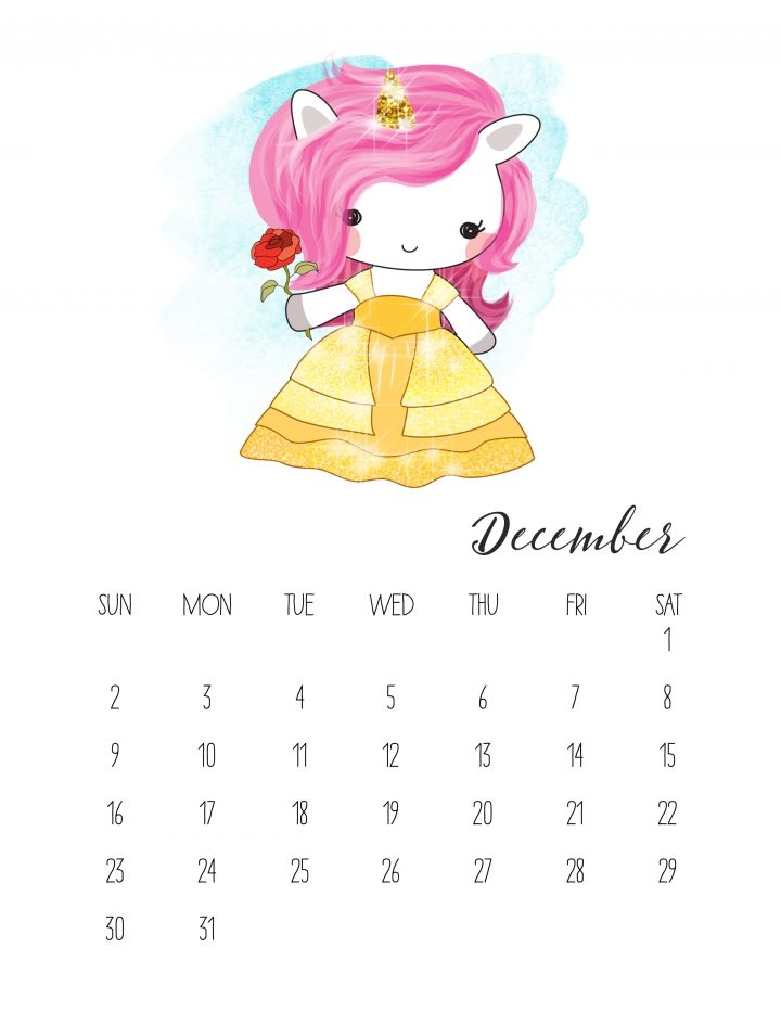 Unicorn Belle is the star of the December page