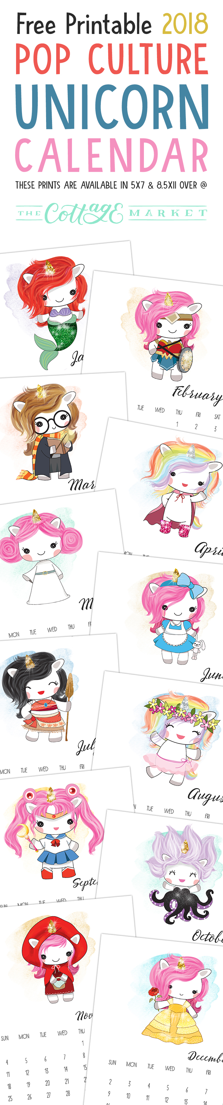 November Calendar Printables : Free printable pop culture unicorn calendar the