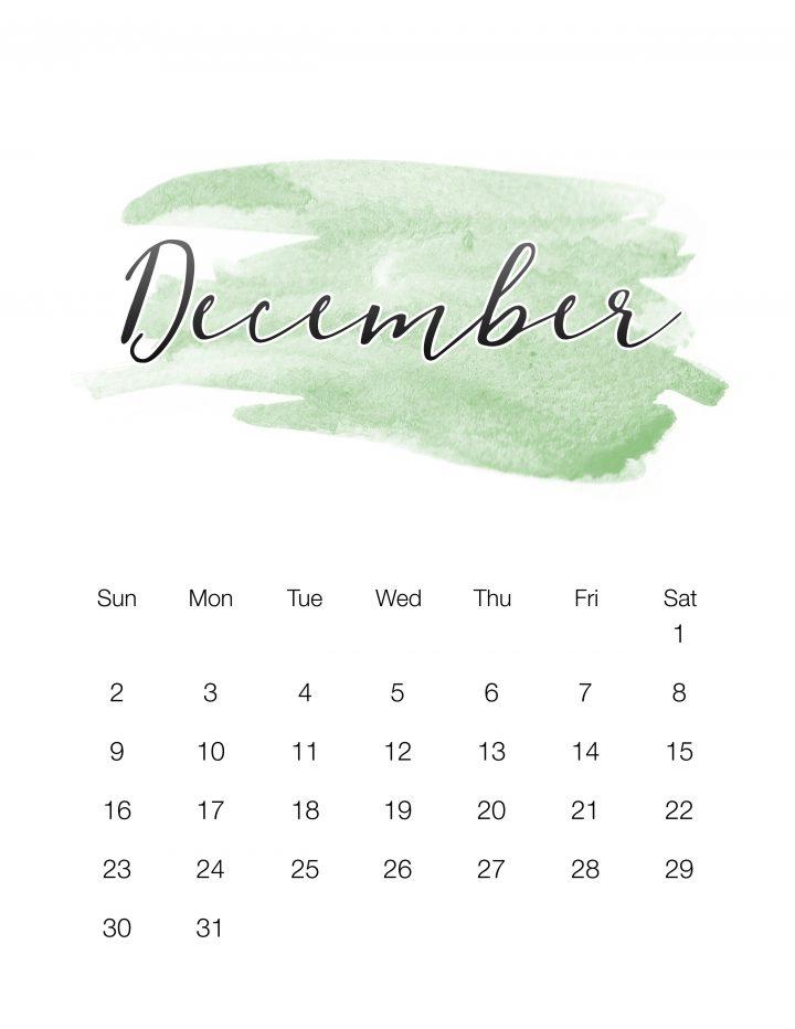 Green watercolor wash - December
