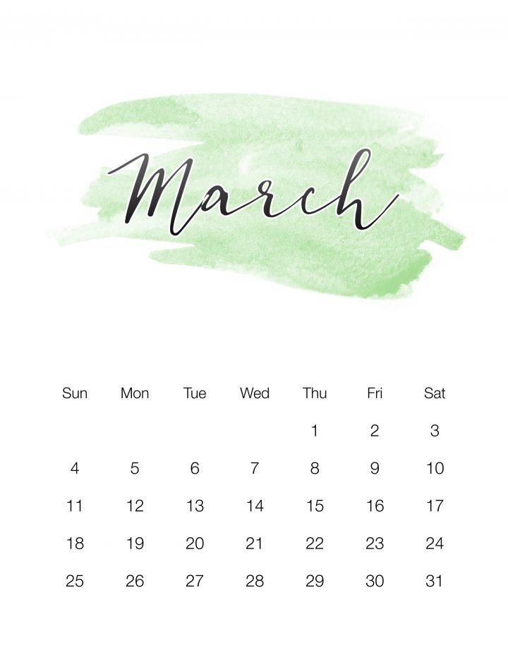 Green Watercolor Wash - March