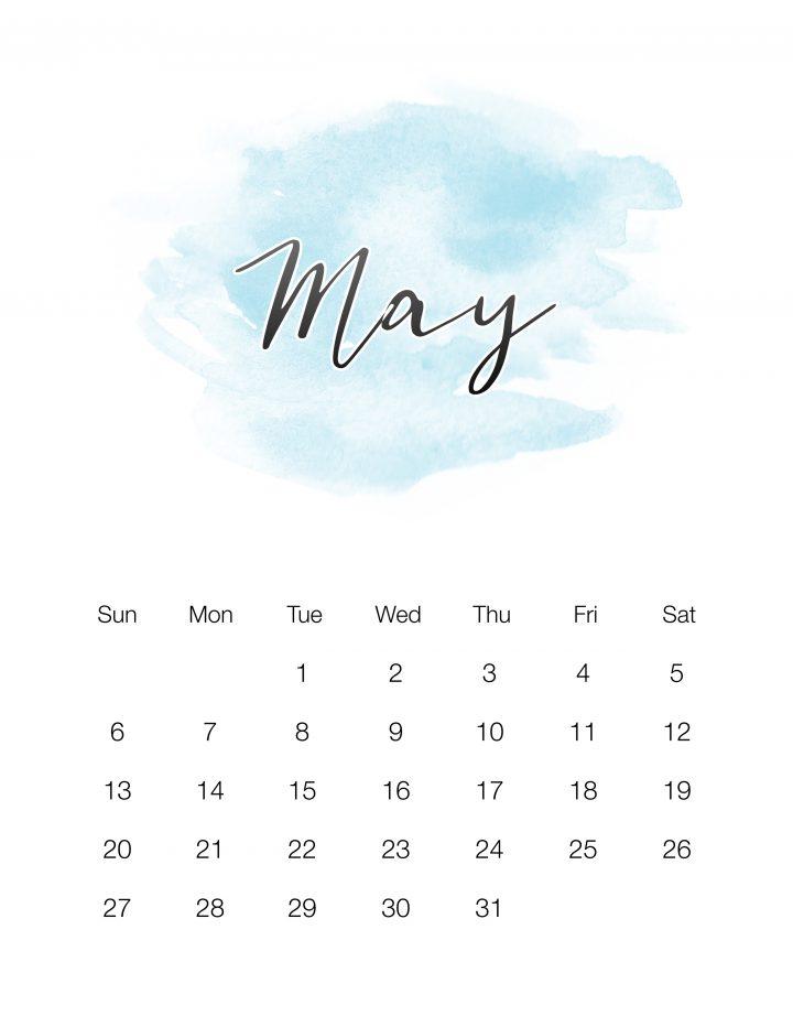 Sky Blue Watercolor Wash - May