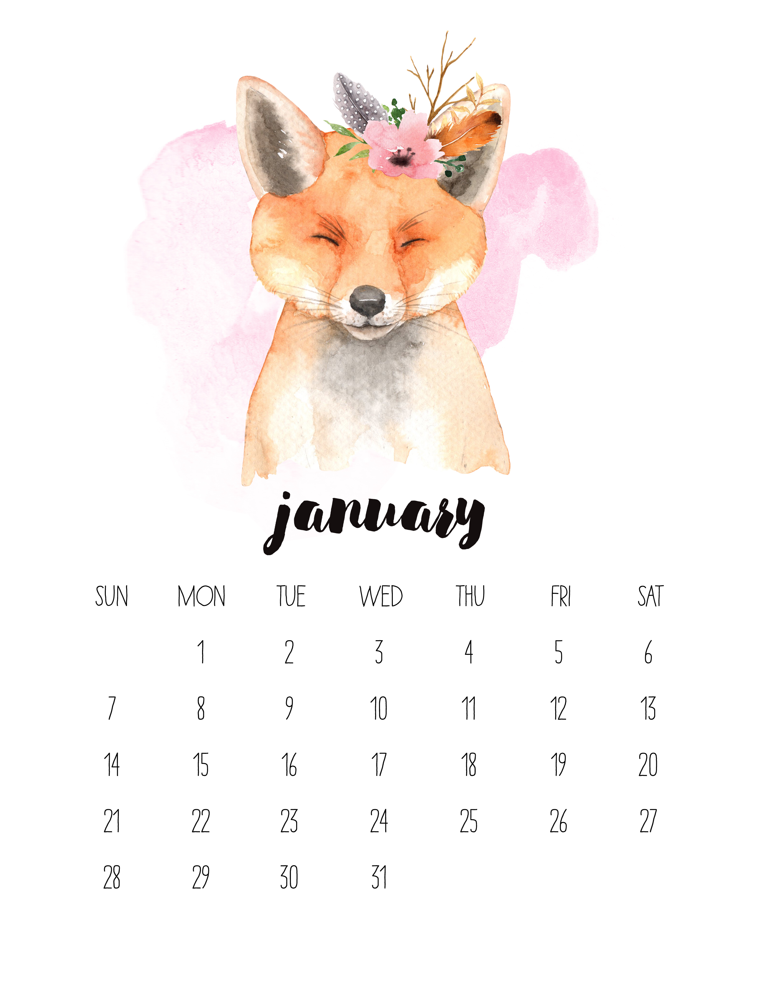 Free Printable 2018 Watercolor Animal Calendar   The Cottage Market