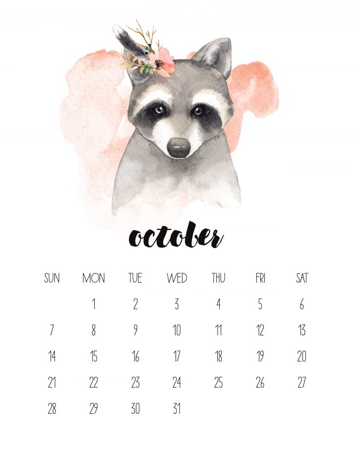 A cute raccoon is the face of the October page of the FREE 2018 watercolor animal calendar