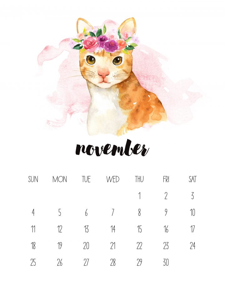 This friendly kitty is featured as the November page in our FREE 2018 watercolor animals printable calendar