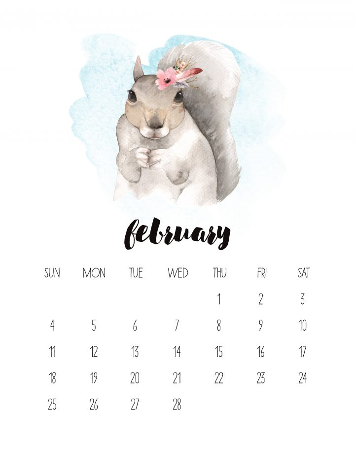 February's page in this 2018 watercolor animal calendar is a cute squirrel