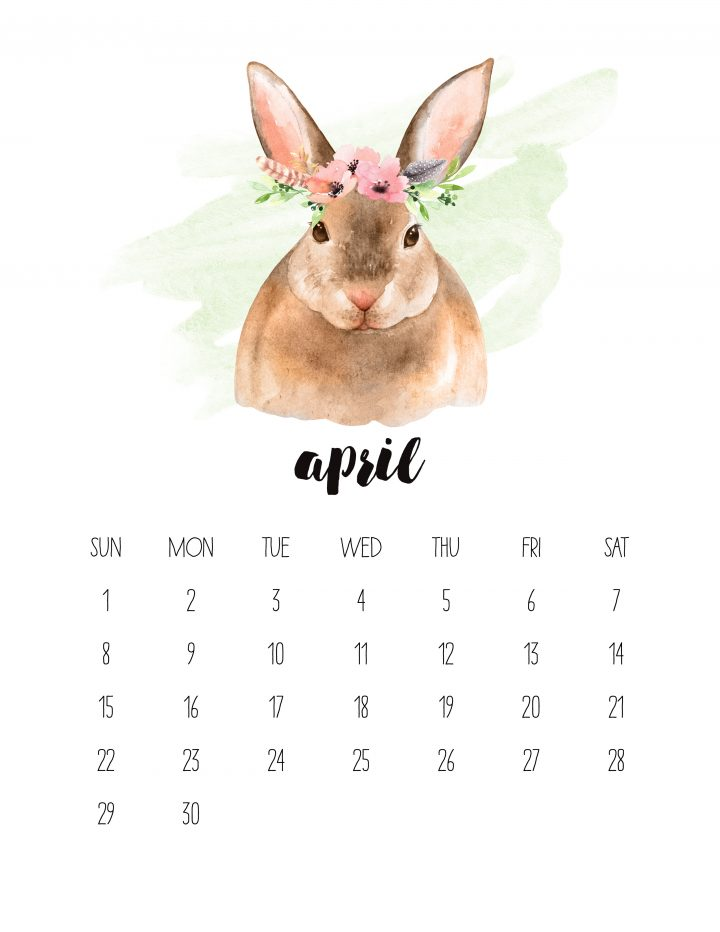 The 2018 Watercolor Animals Calendar features a cute little rabbit as the face of April