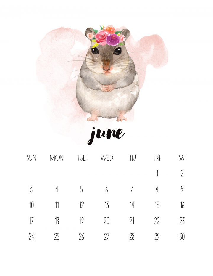 June 2018 in this free watercolor animals calendar is an adorable little mouse friend