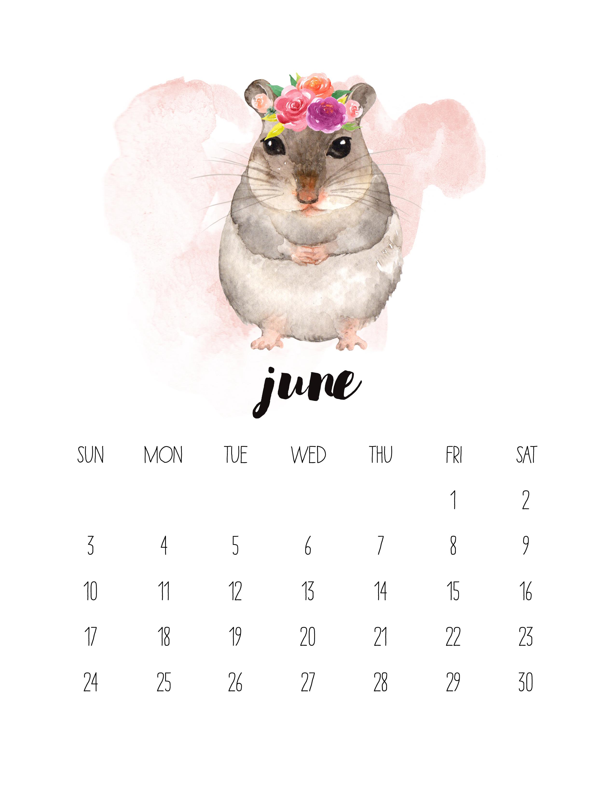 Free Printable 2018 Watercolor Animal Calendar - The Cottage Market