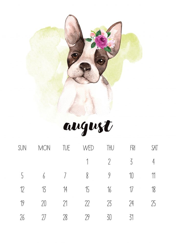 Fall in love with the cute face of August 2018! This adorable puppy is featured in the free 2018 watercolor animals calendar