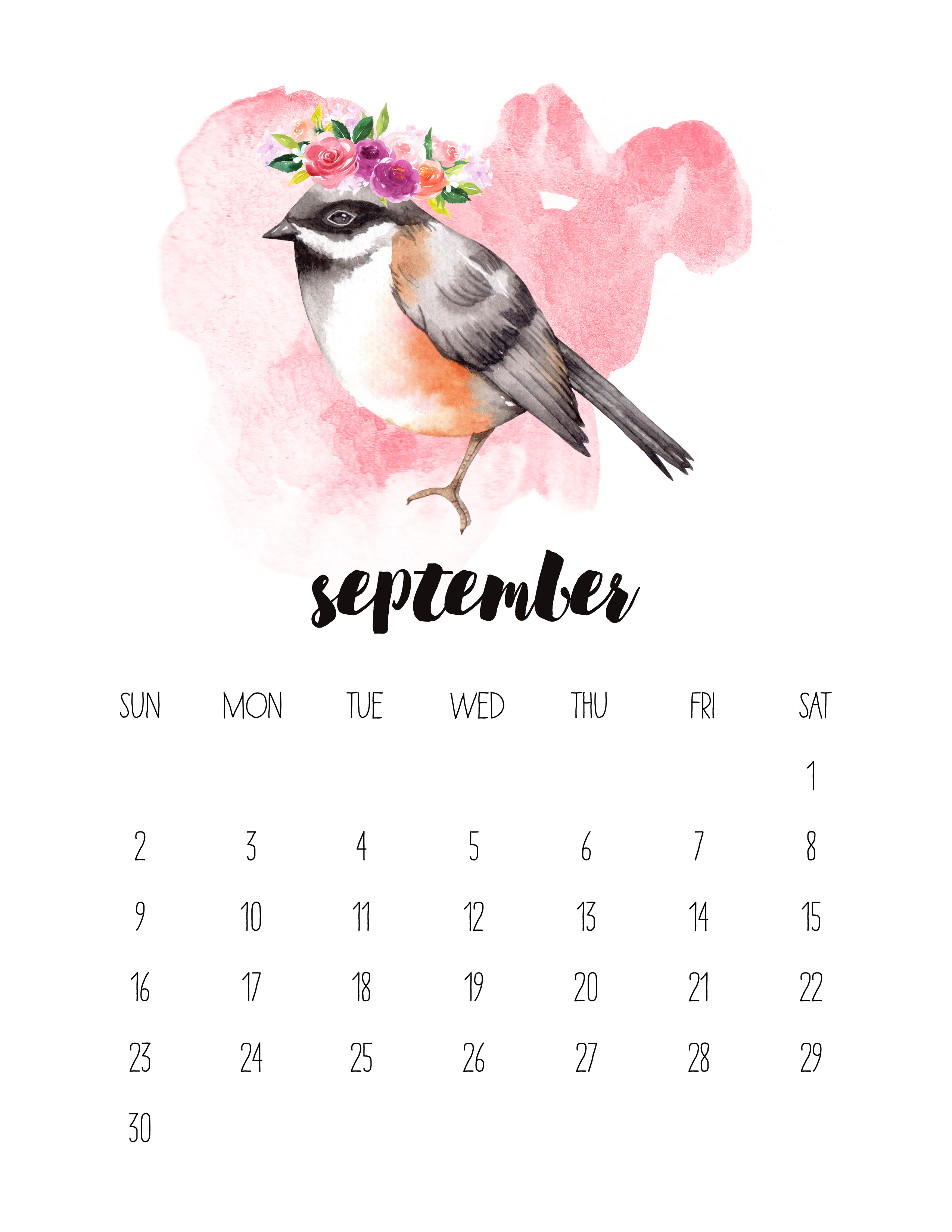 September Calendar 2018 Printable : Free printable watercolor animal calendar the