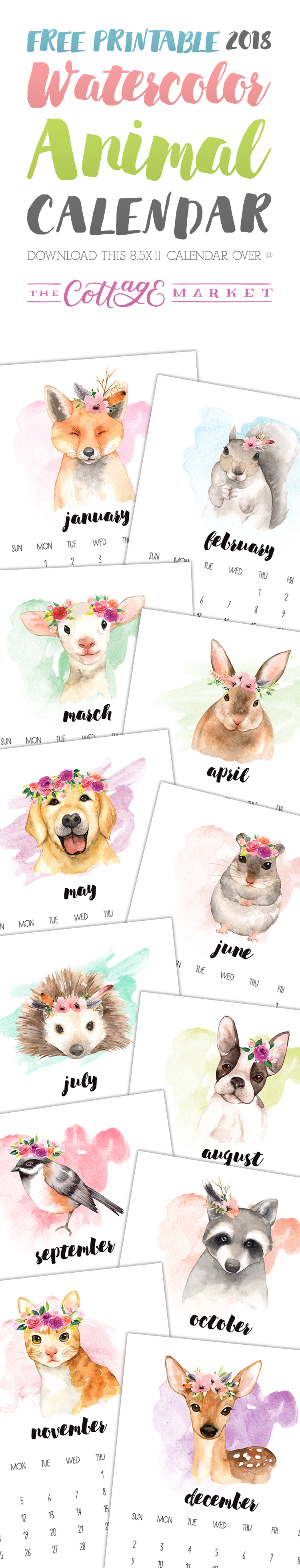 The Cottage Market's FREE Printable Calendar is here -- this year, it's a Watercolor Animal Calendar