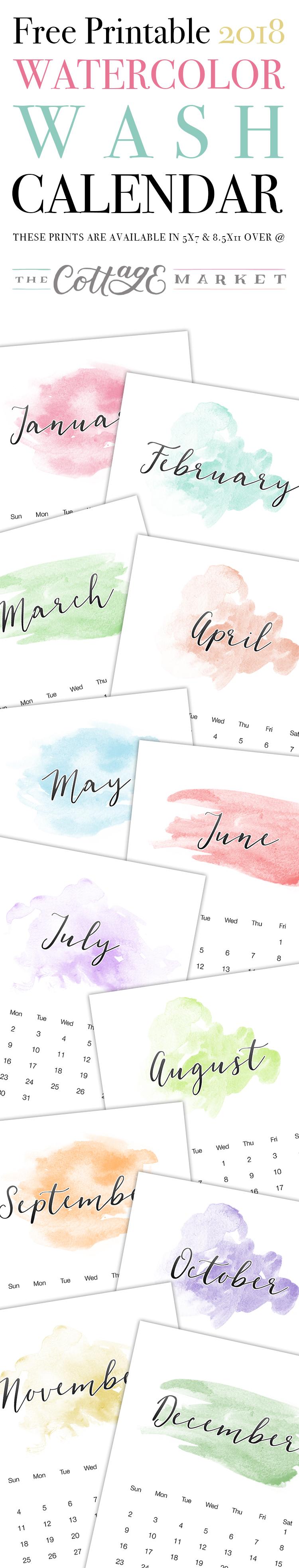 Watercolor Wash Printable Calendar