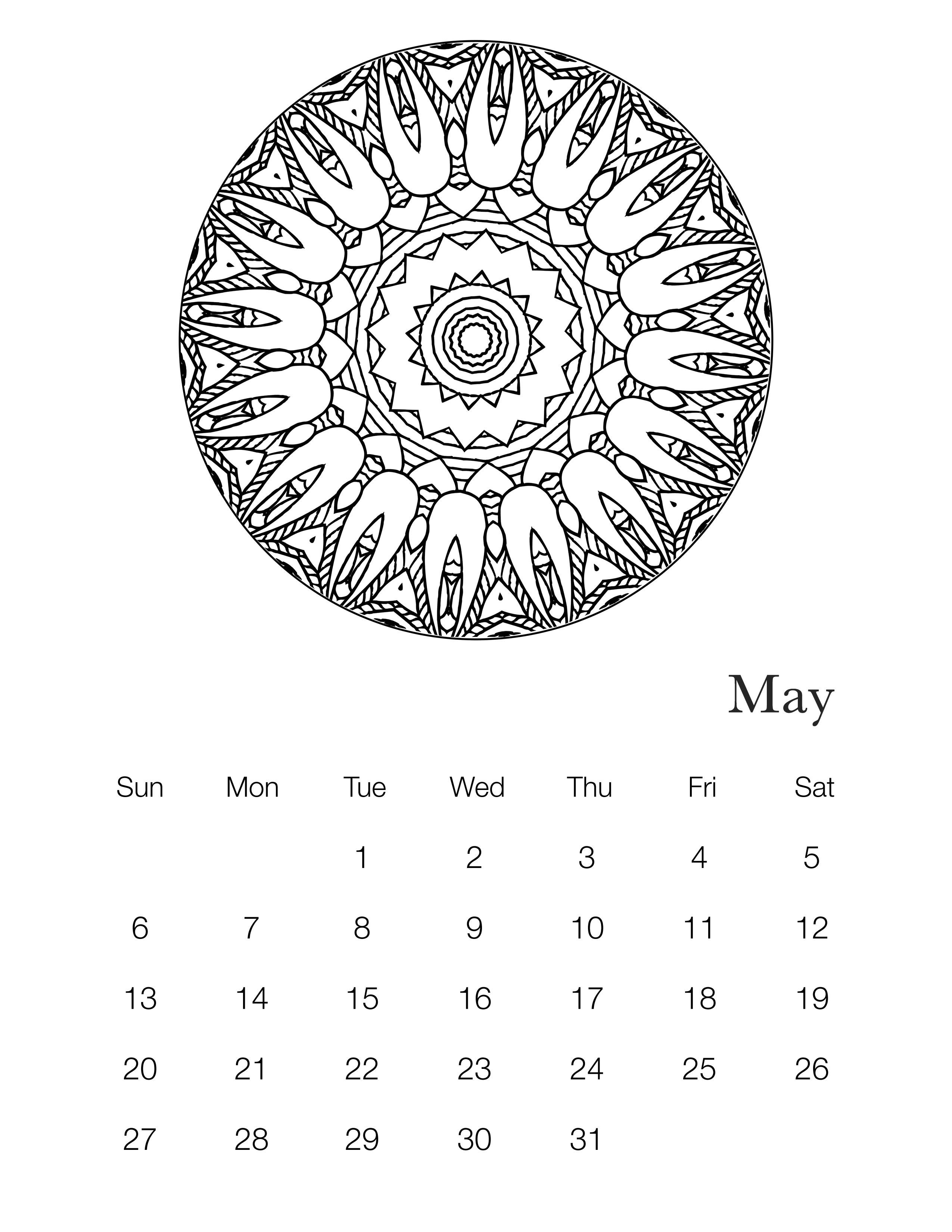 Free Printable 2018 Mandala Coloring Book Calendar - The Cottage Market