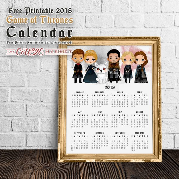 Free Printable 2018 Game of Thrones Calendar