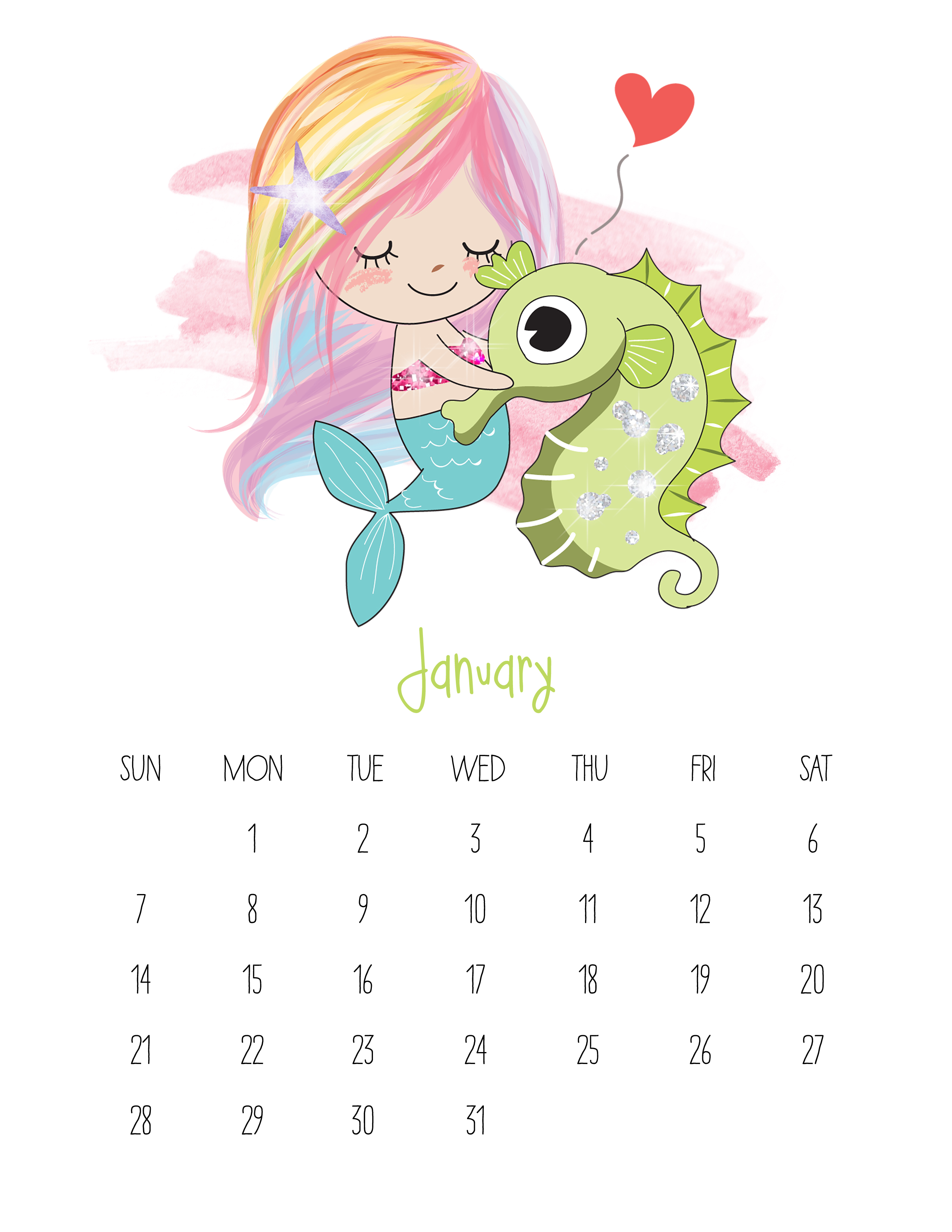 Printable Calendar Kawaii : Free printable kawaii mermaid calendar the cottage
