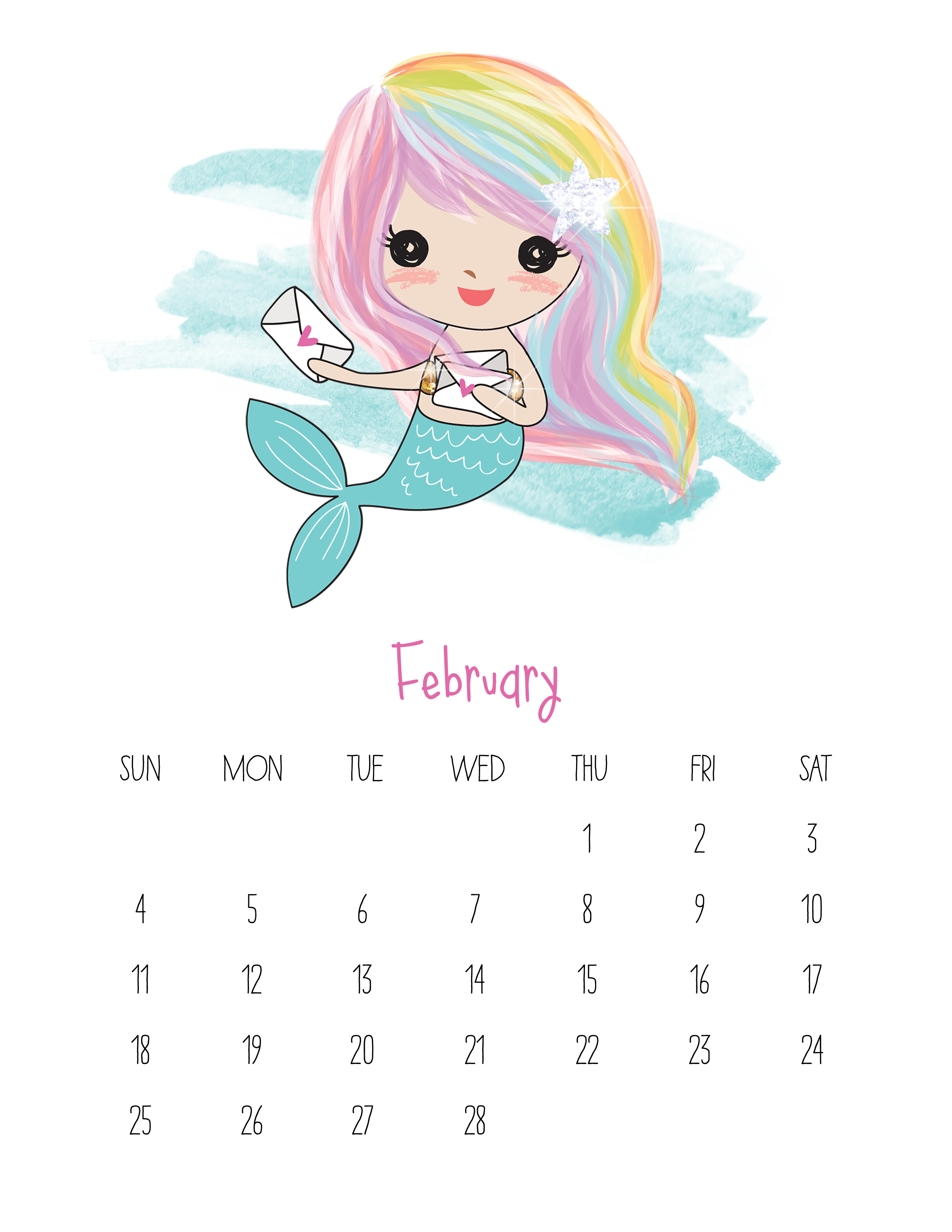photograph about Printable Mermaids named No cost Printable 2018 Kawaii Mermaid Calendar - The Cottage Marketplace
