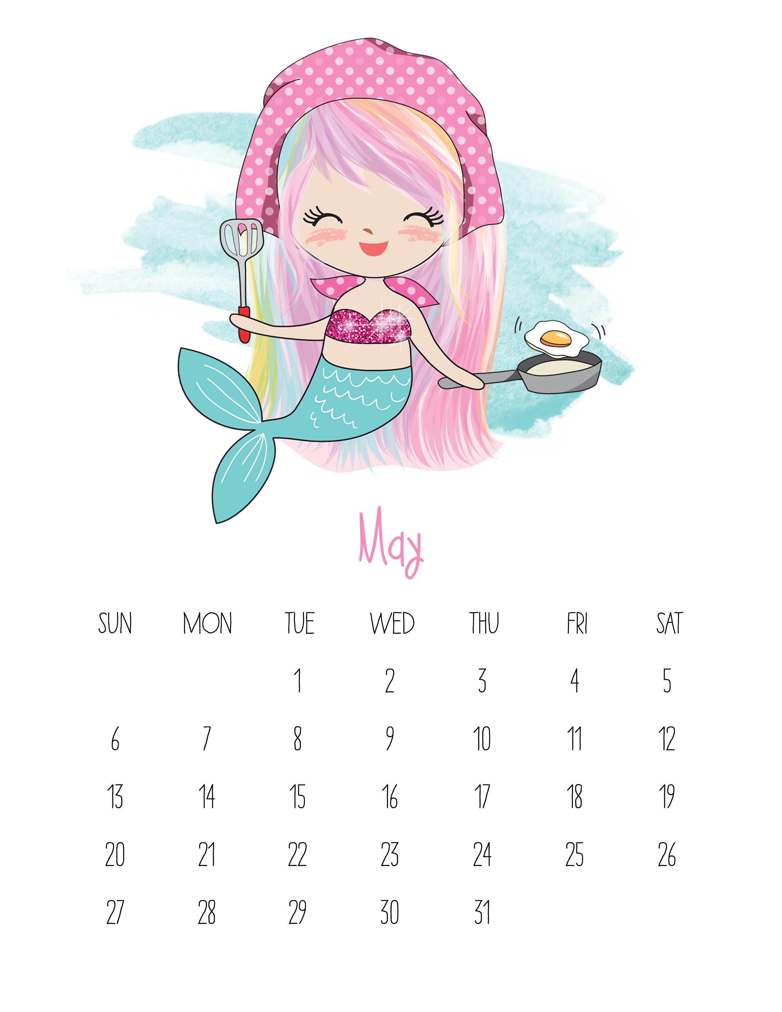 free printable 2018 kawaii mermaid calendar