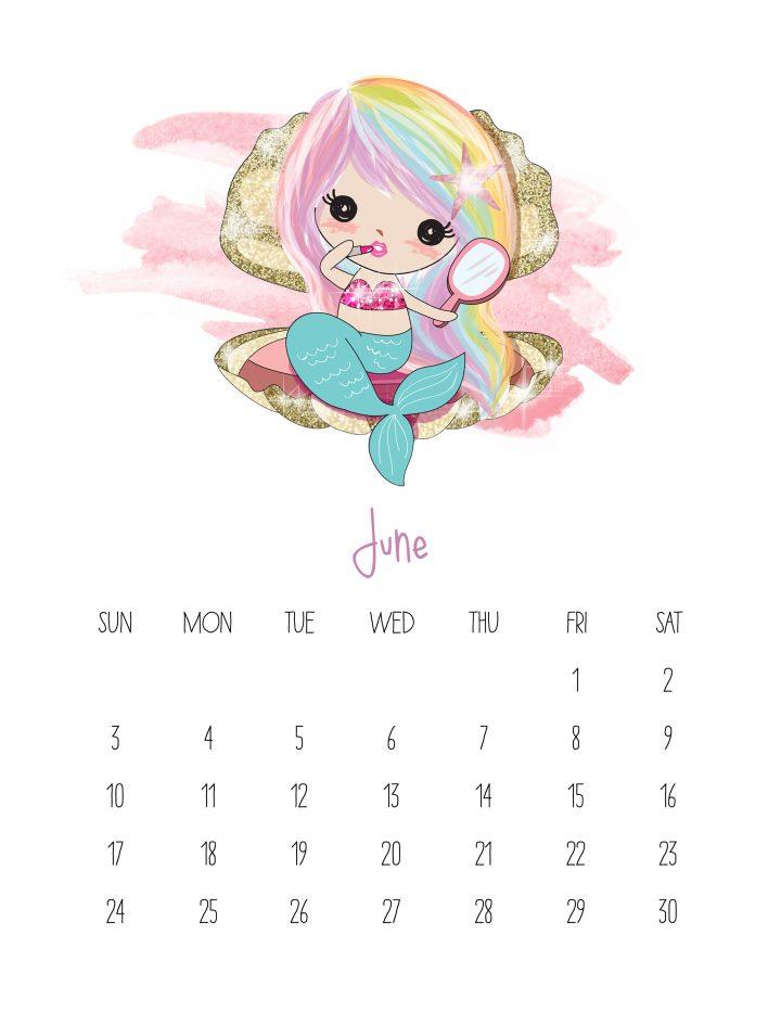 Free Printable 2018 Kawaii Mermaid Calendar on March Bulletin Board Cute