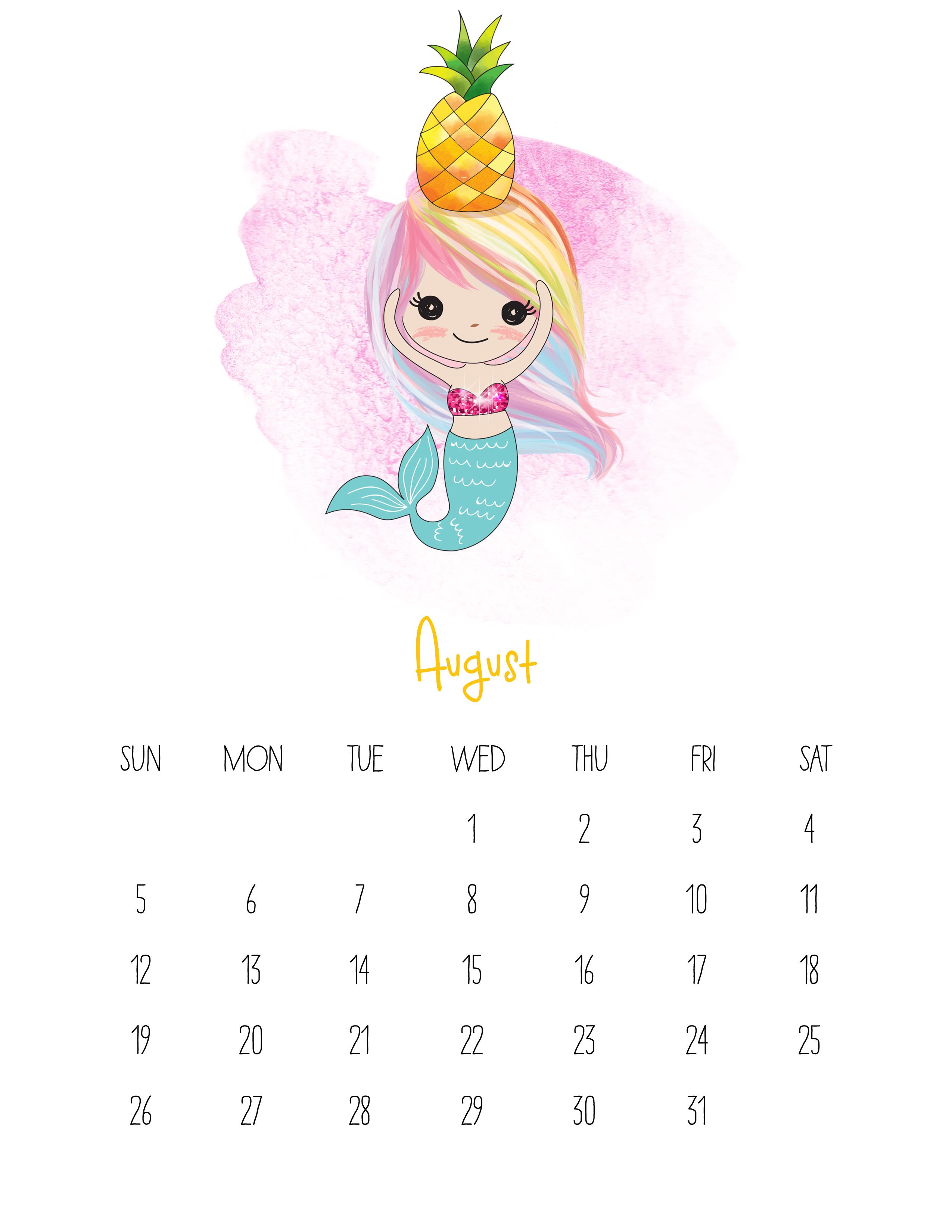 Cute Calendar February 2018 : Free printable kawaii mermaid calendar the cottage market