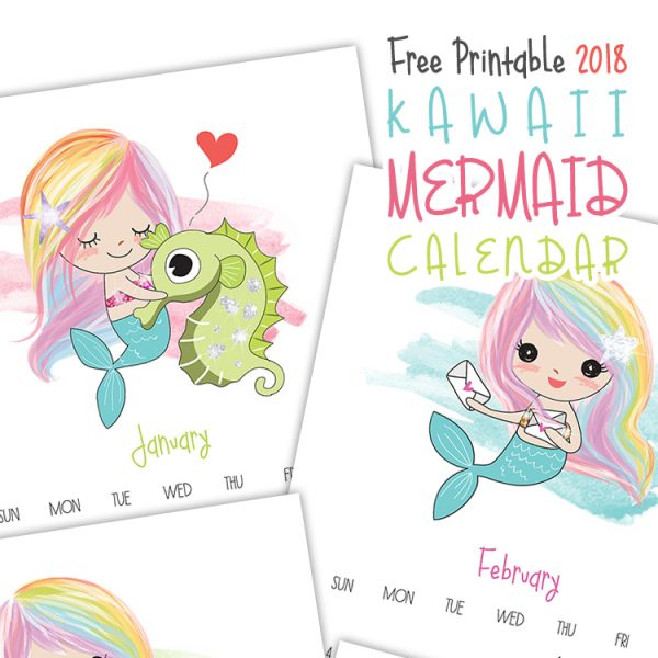 Free Printable 2018 Kawaii Mermaid Calendar
