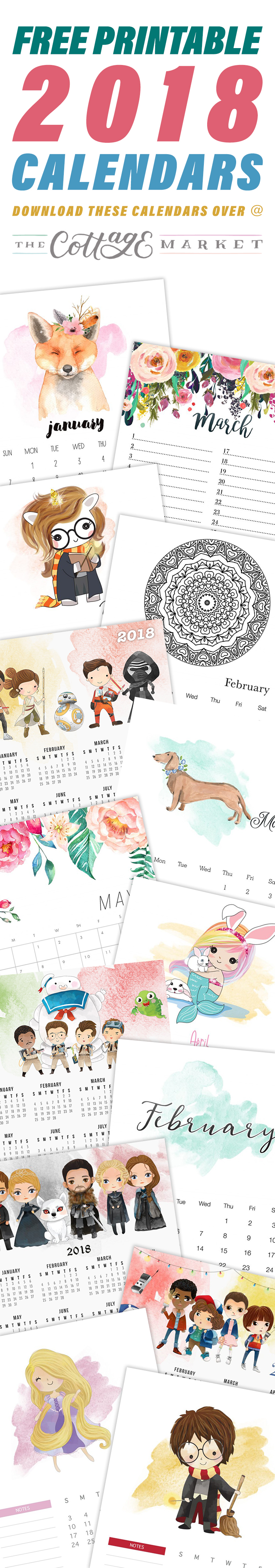 The Complete 2018 Printable Calendars Collection from The Cottage Market