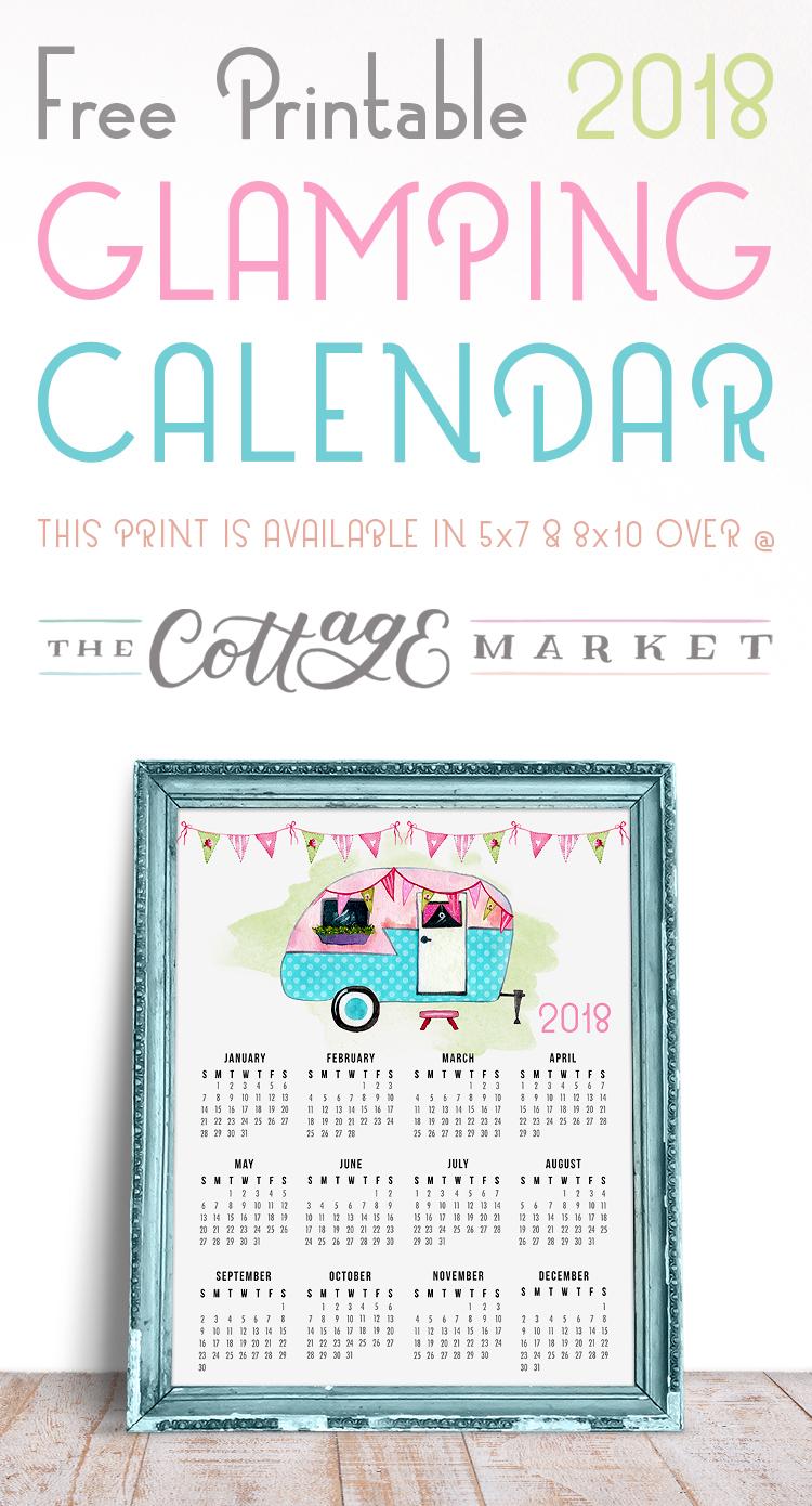 Glamping Calendar - 2018 Printable Calendars Collection
