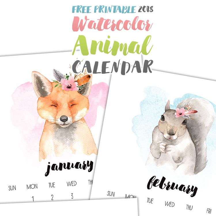 Watercolor Animals Calendar - 2018 Printable Calendars Collection