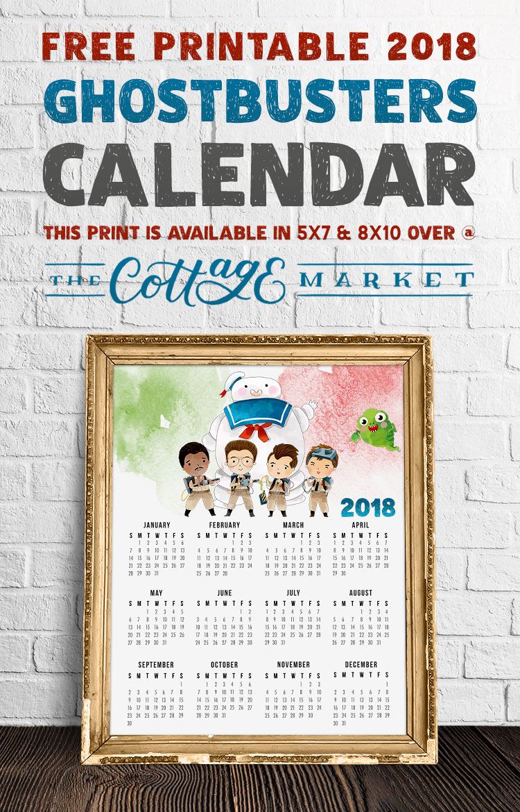 Free Printable Ghostbusters Cartoon Character Calendar - 2018 Printable Calendars Collection
