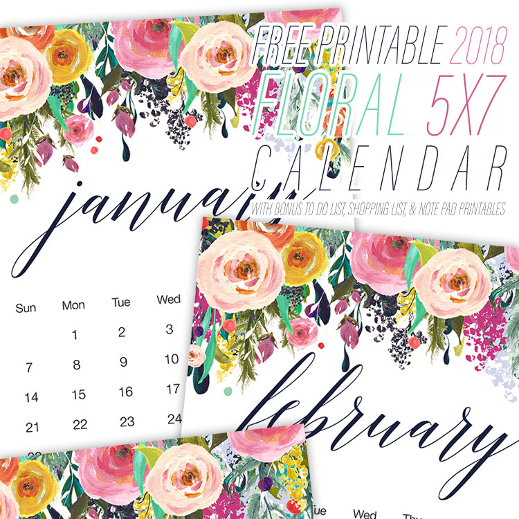 Floral Design Printable Calendar - 2018 Printable Calendars Collection
