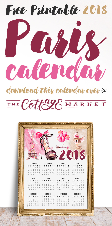 Paris Themed Printable Calendar - 2018 Printable Calendars Collection