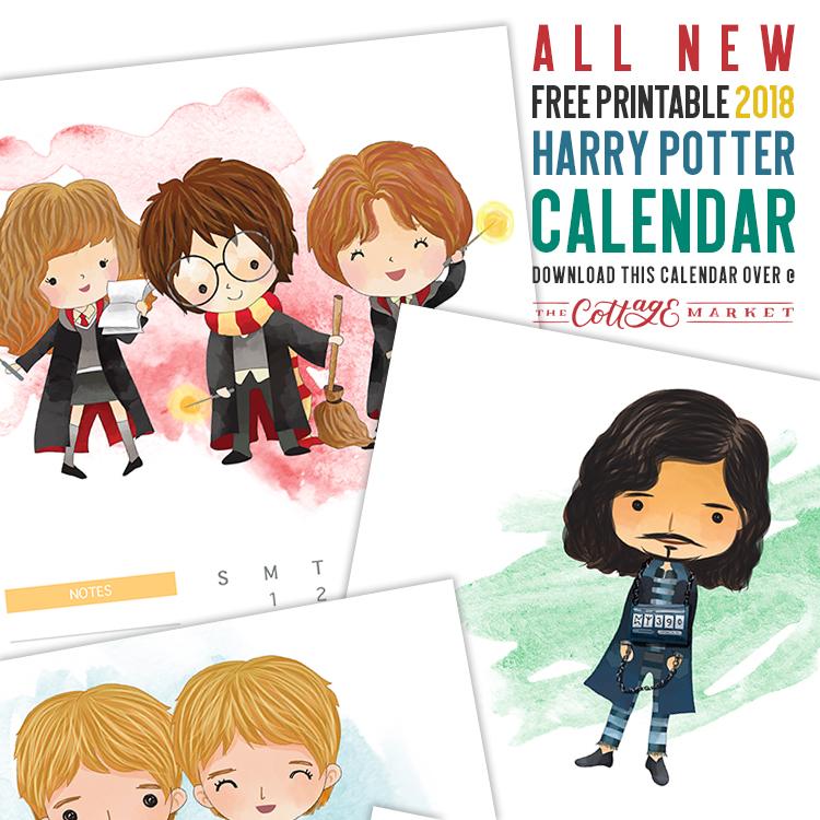 Harry Potter Cartoon Character Calendar - 2018 Printable Calendars Collection