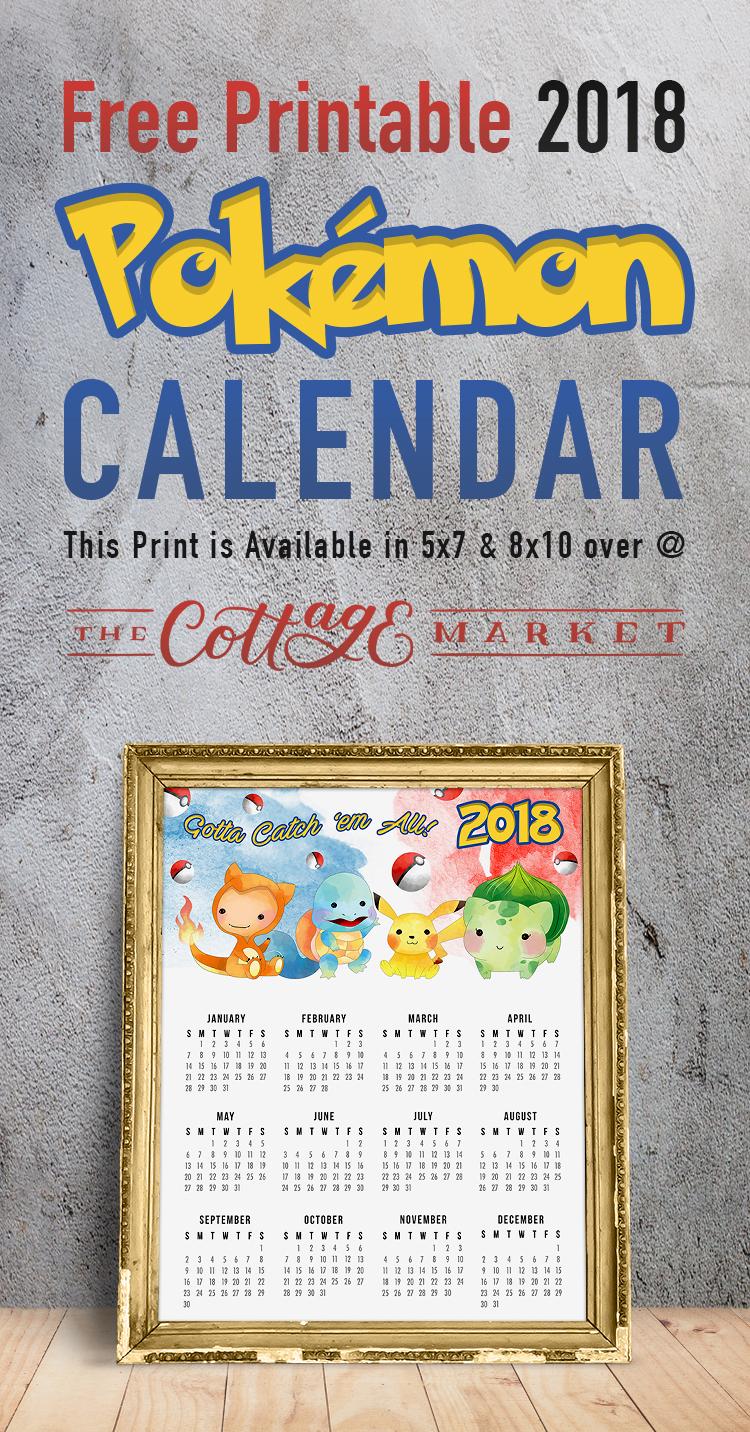 Free Printable Pokemon Calendar - 2018 Printable Calendars Collection