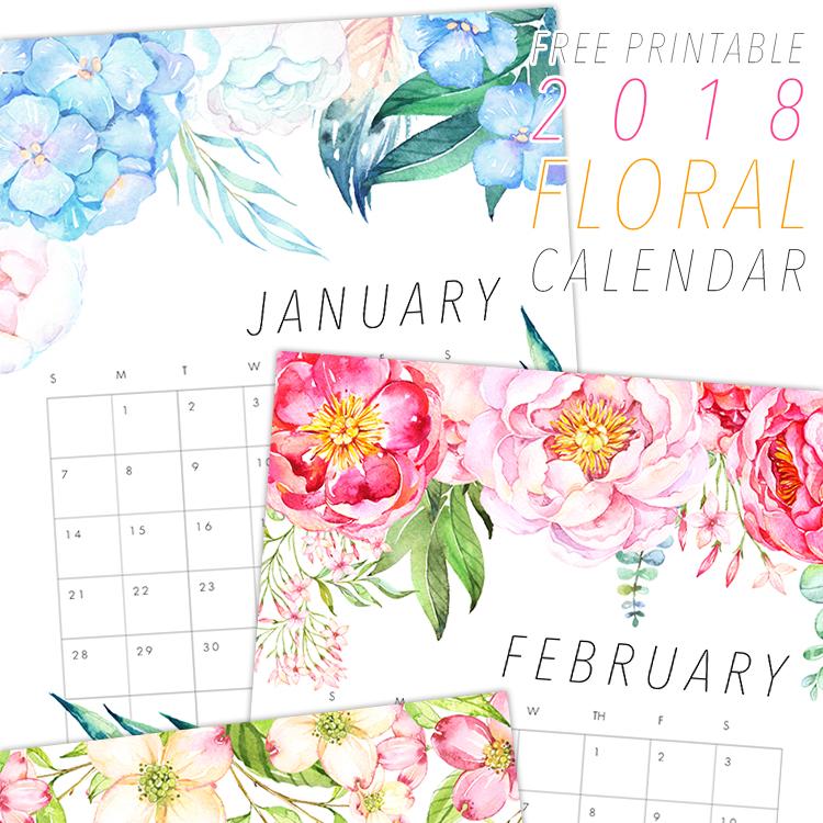 Pastel Floral Design Calendar - 2018 Printable Calendars Collection