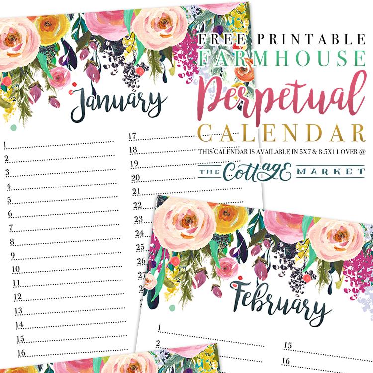 Farmhouse Floral Perpetual Calendar - 2018 Printable Calendars Collection