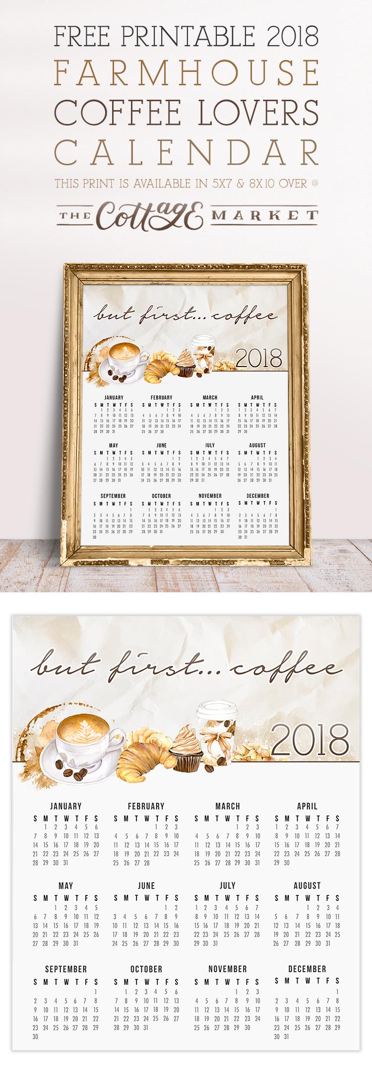 Farmhouse Coffee Lovers Calendar - 2018 Printable Calendars Collection