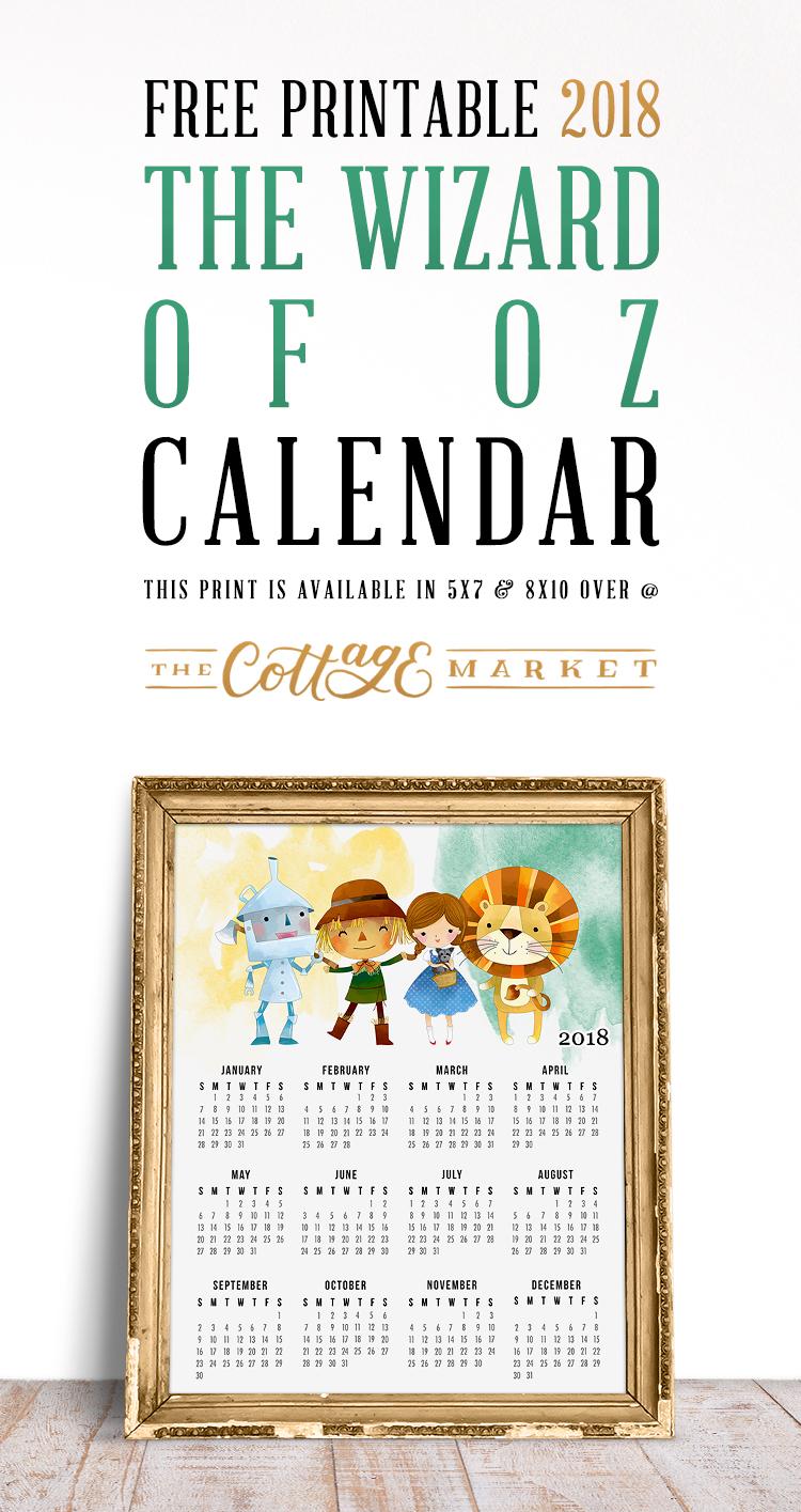 Printable Wizard of Oz Calendar - 2018 Printable Calendars Collection