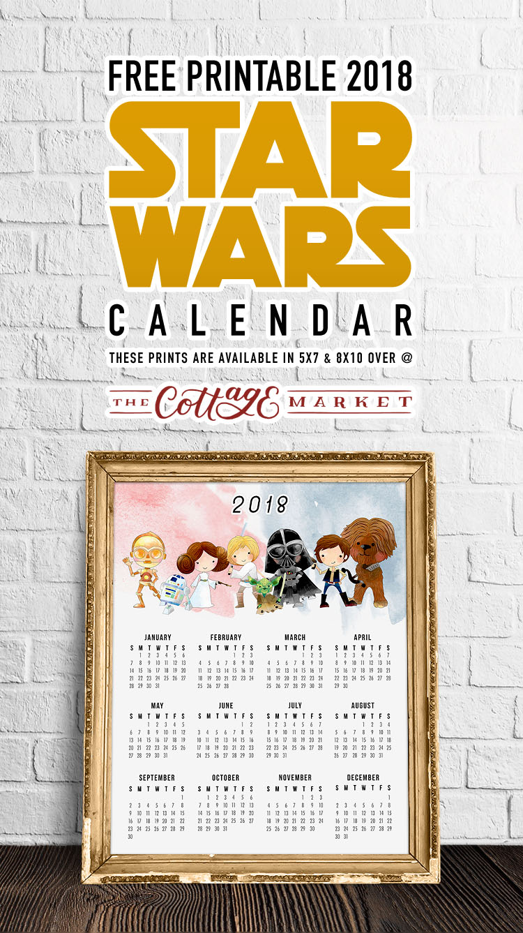 Cartoon Star Wars Characters - 2018 Printable Calendars Collection