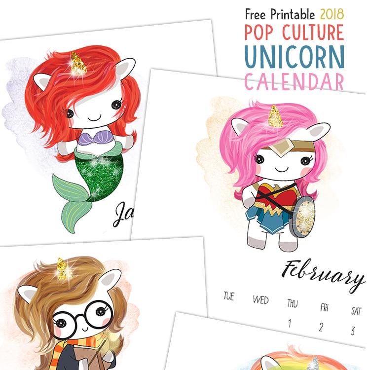Kids Pop Culture Unicorn Calendar - 2018 Printable Calendars Collection