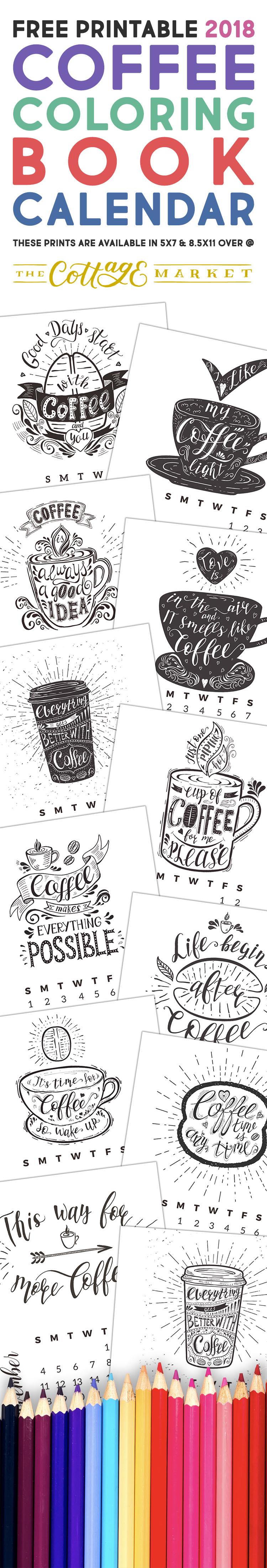 Calendar Book 2018 : Free printable coffee coloring book calendar the