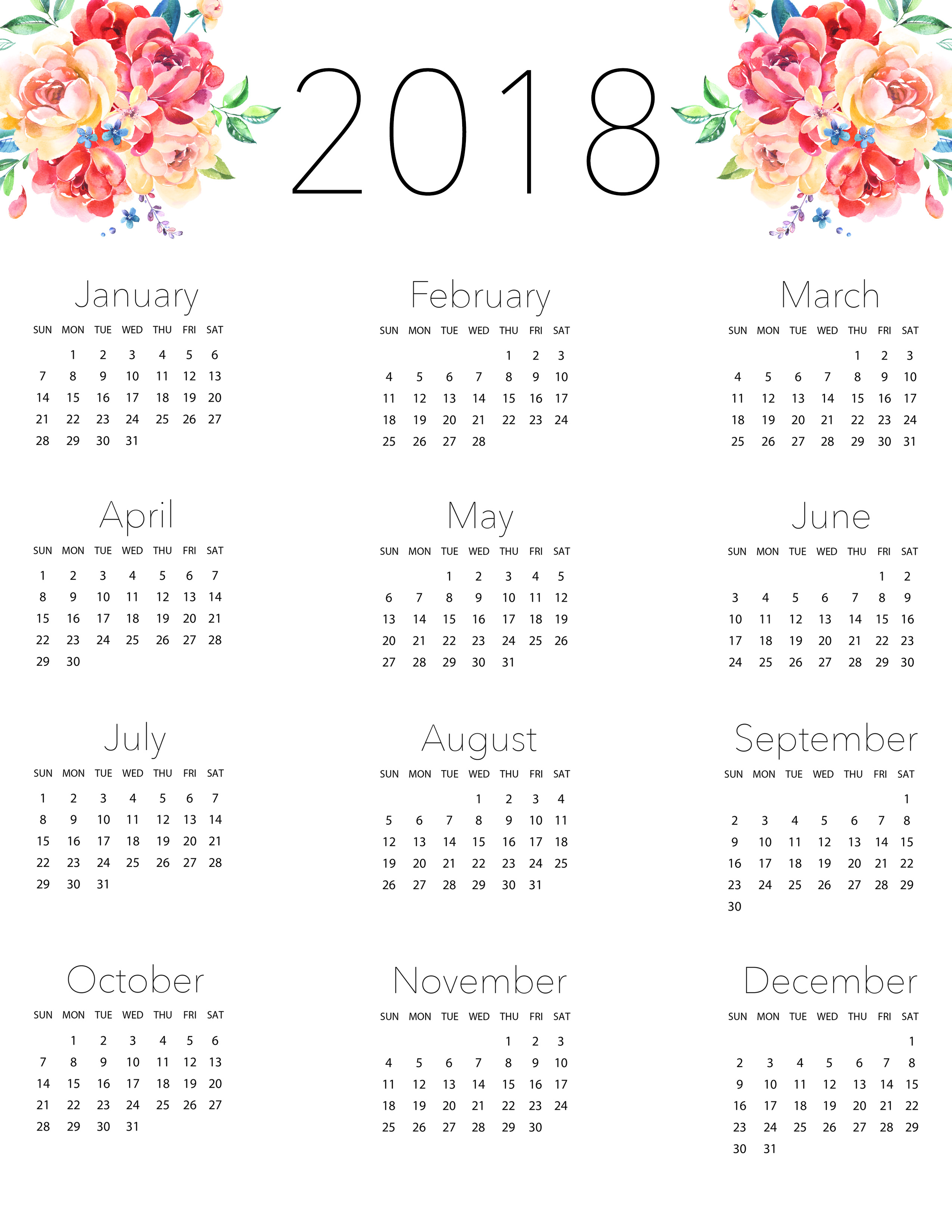 Free Printable 2018 Planner 50 Plus Printable Pages - The ...
